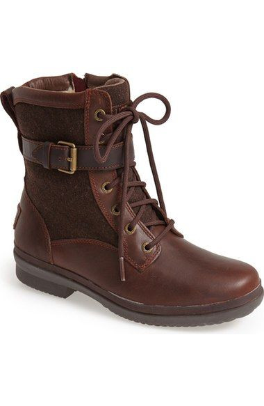 Details about UGG AUSTRALIA UPSIDE Womens Size 8 Brown Suede Sheepskin Lace Up Boots 5163