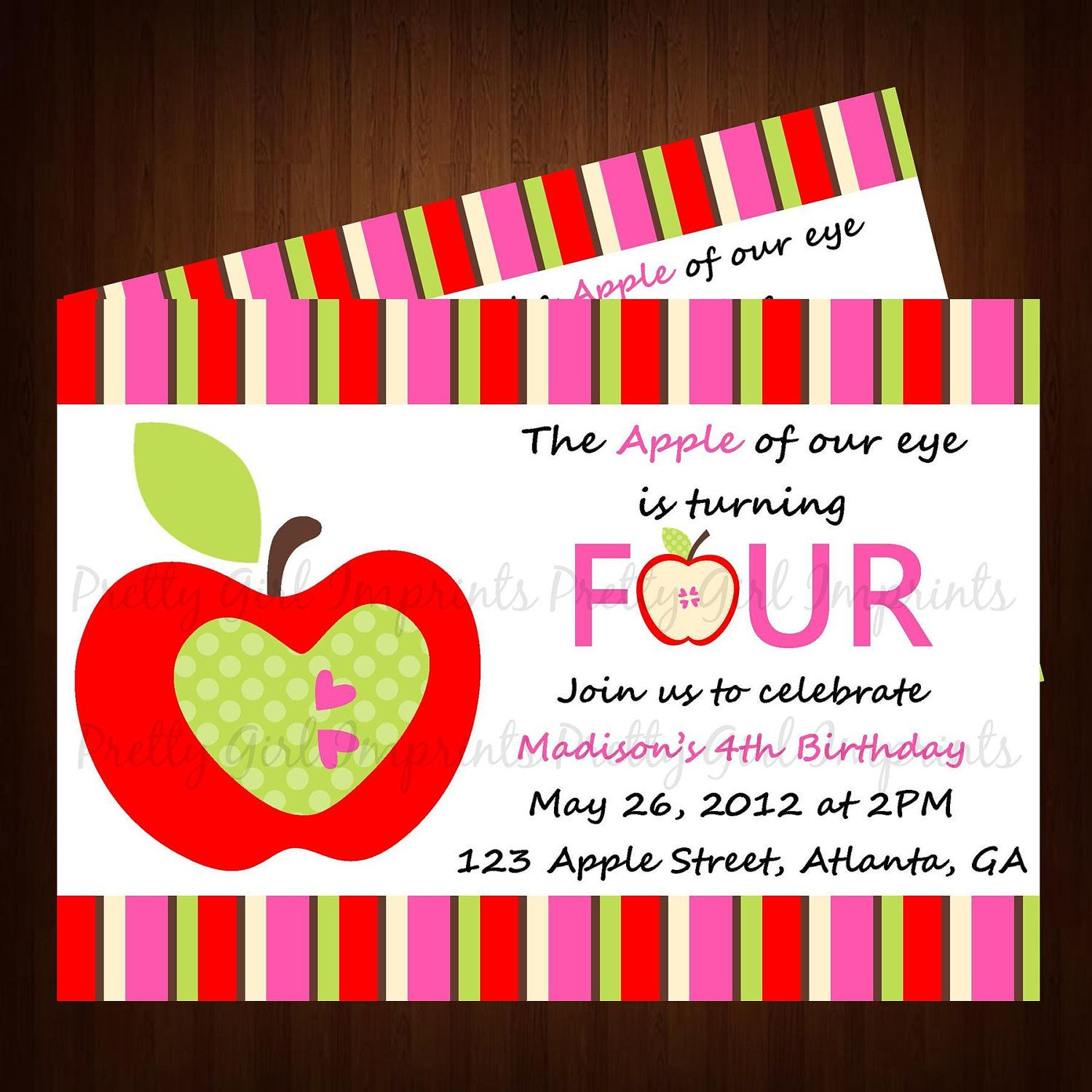 Apple Invitation - Printable Apple of my Eye Birthday Invitation ...