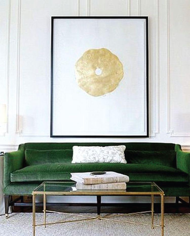 Etonnant Emerald Green And Gold Living Room Design · Green Velvet SofaVelvet ...