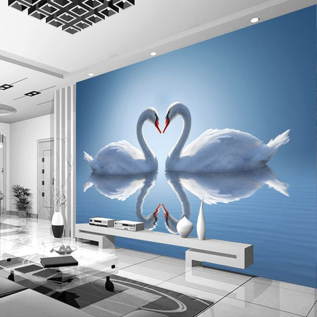 Romantic photo wallpaper swan lake wallpaper custom 3d for 3d mural wallpaper for bedroom