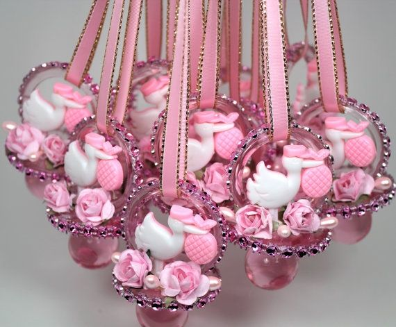 Pink Baby Shower Pacifiers Necklace (12 Pcs) / Baby Shower Games /  Rhinestone Mesh