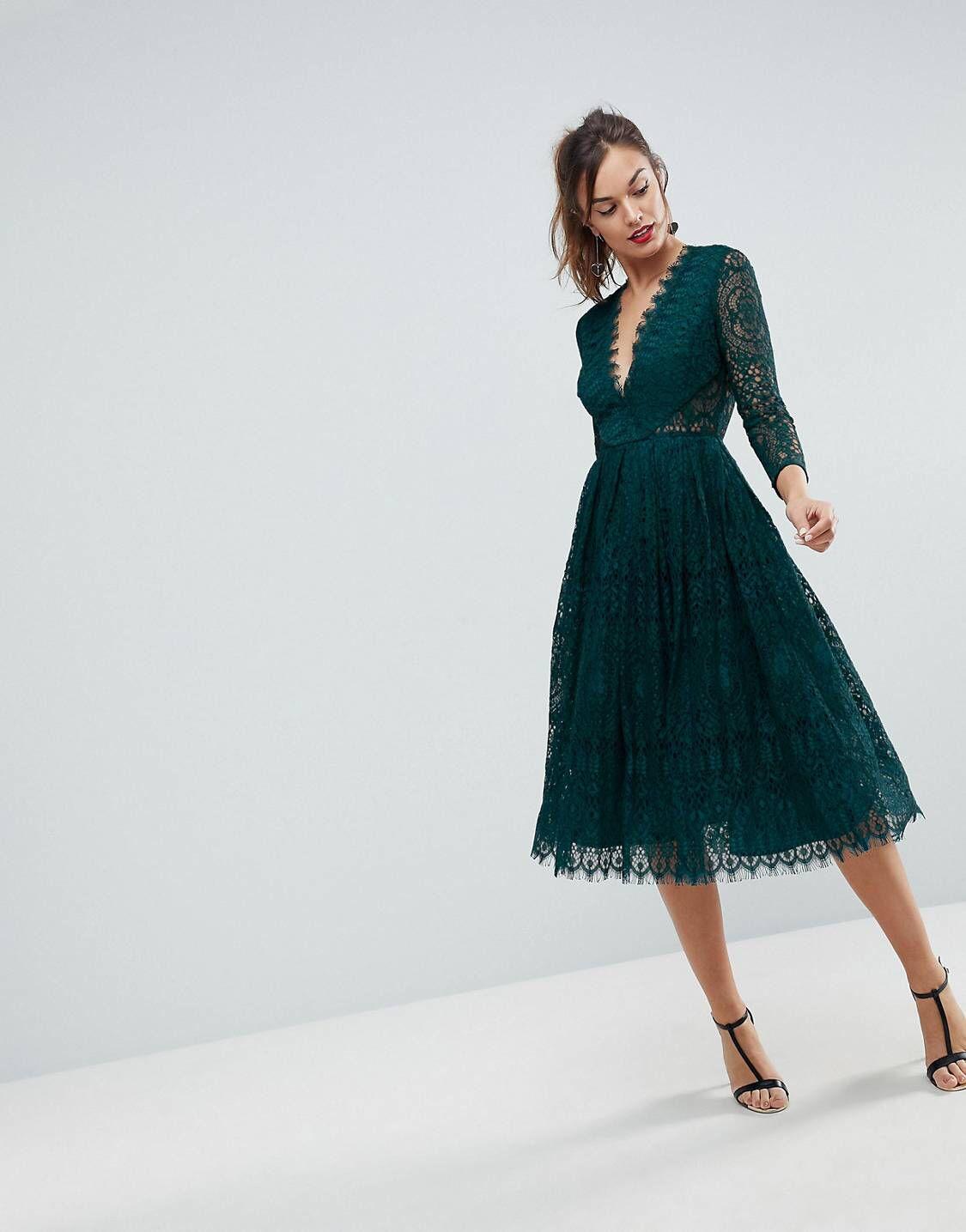 Long Sleeve Lace Midi Prom Dress  f85761fb9