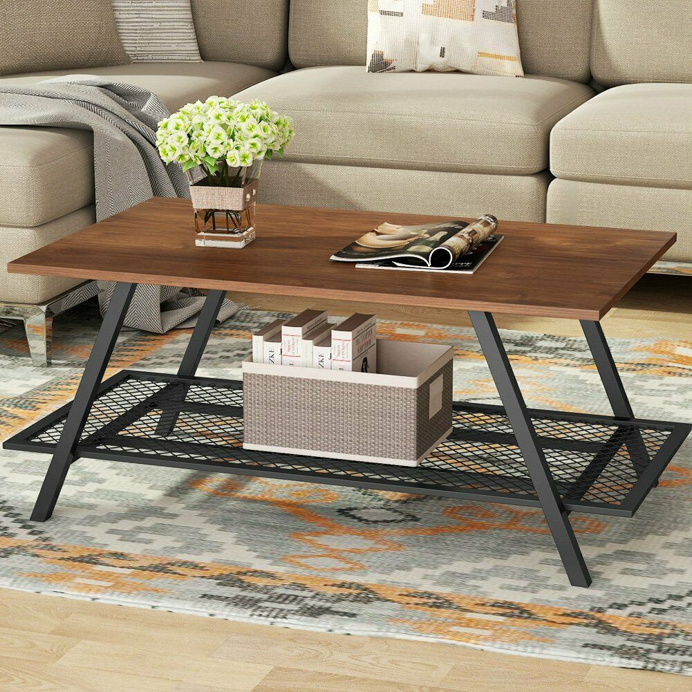 Tribesigns Coffee Table With Metal Frame Rustic Industrial Style