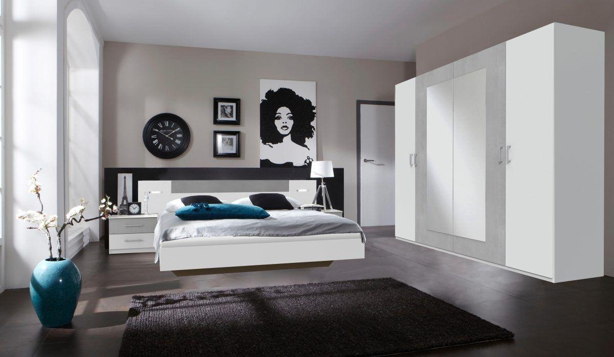 Schlafzimmer-Set weiß, Set mit Schwebetürenschrank Breite 225 cm ...