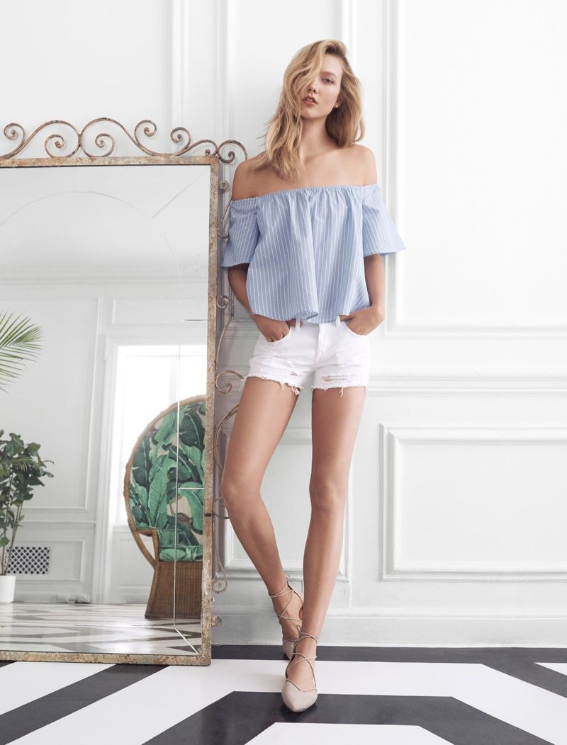 Express Blue Thick Stripe Off the Shoulder Top with white Jean shorts
