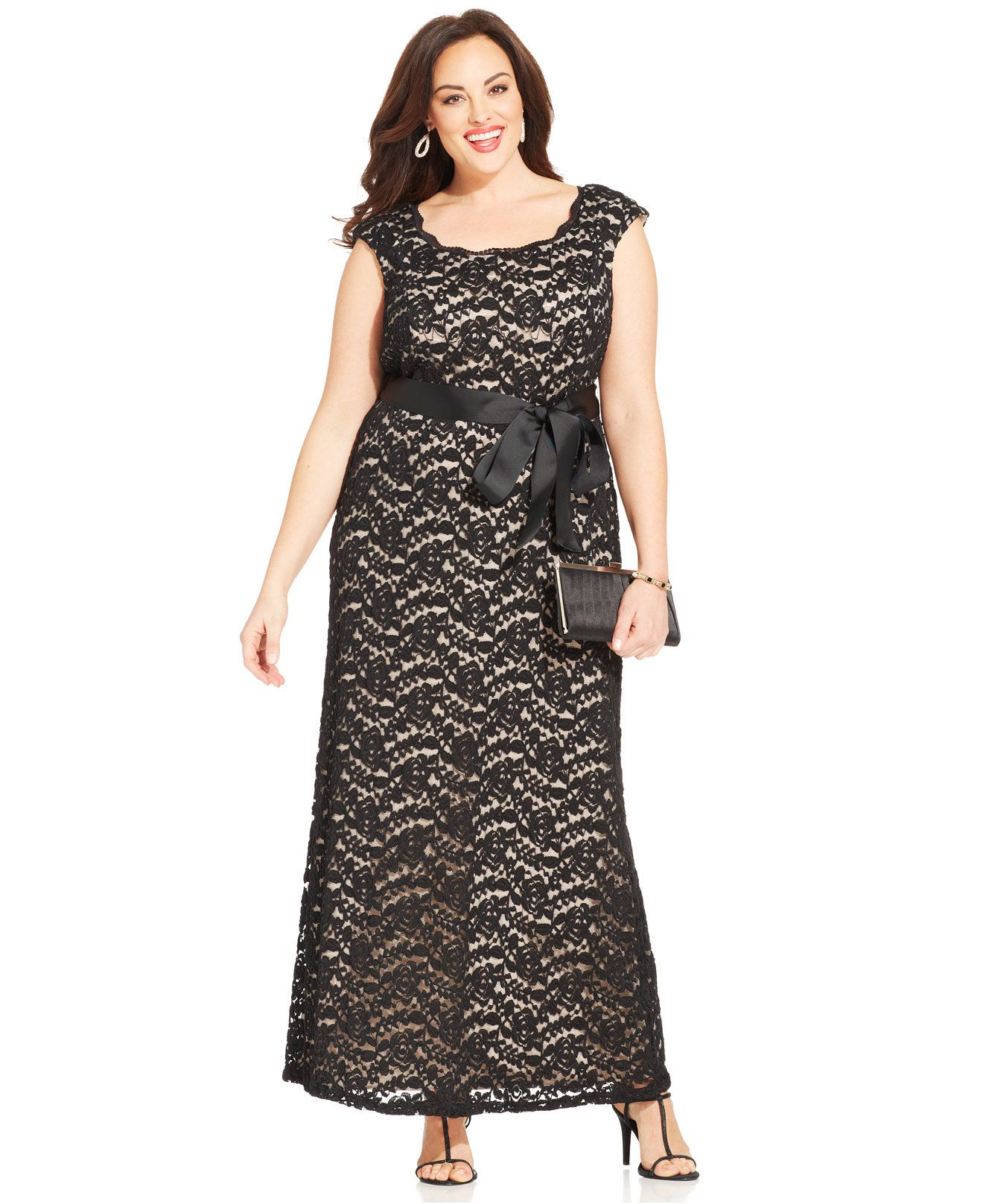 R&M Richards Plus Size Contrast-Lace Belted Gown - Dresses - Women ...