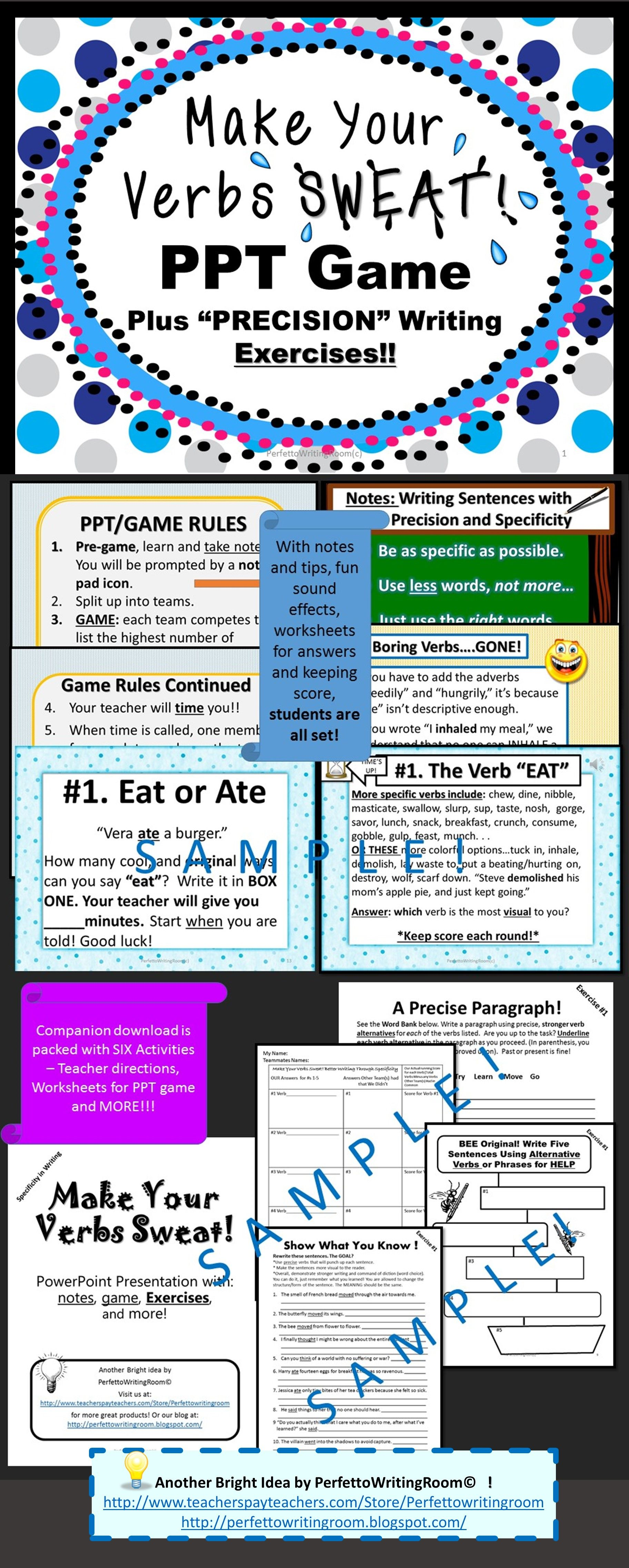 Game Make Your Verbs Sweat Vocabulary Booster With Activities Grade 6