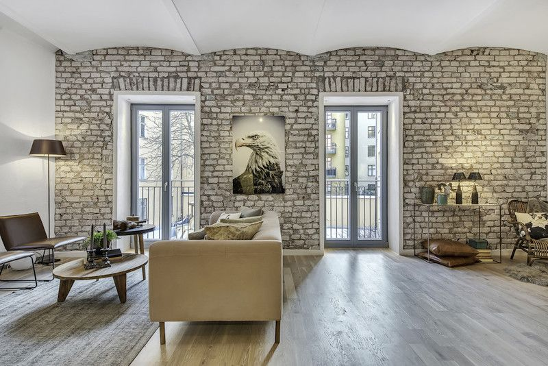 Brick walls in the living room