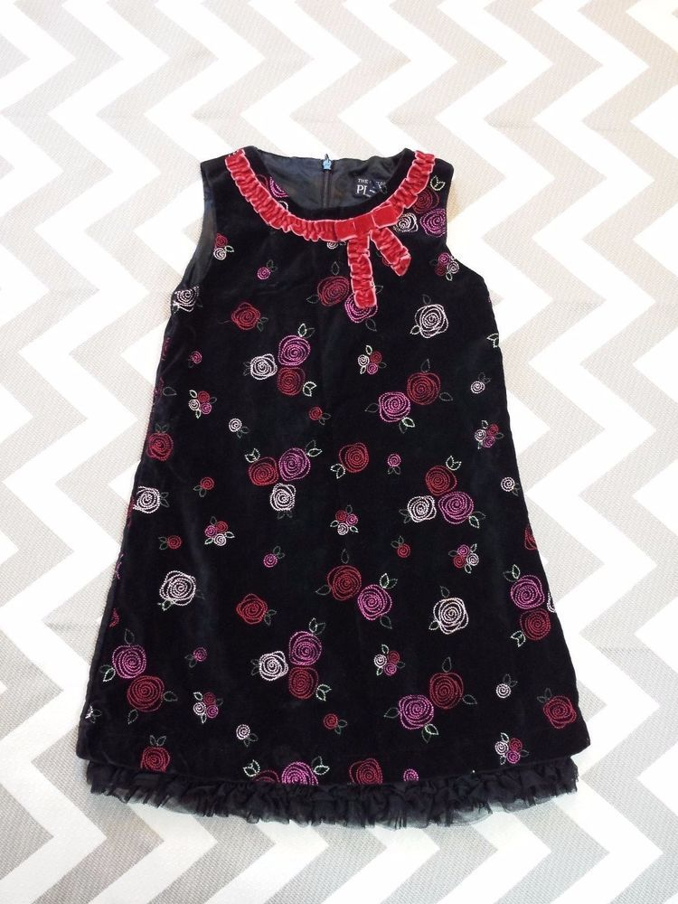 39a8e539b8 Children s Place Sleeveless Black Velvet Dress Floral Rose Holiday Bow Girl  4T 4  ChildrensPlace  DressyHoliday
