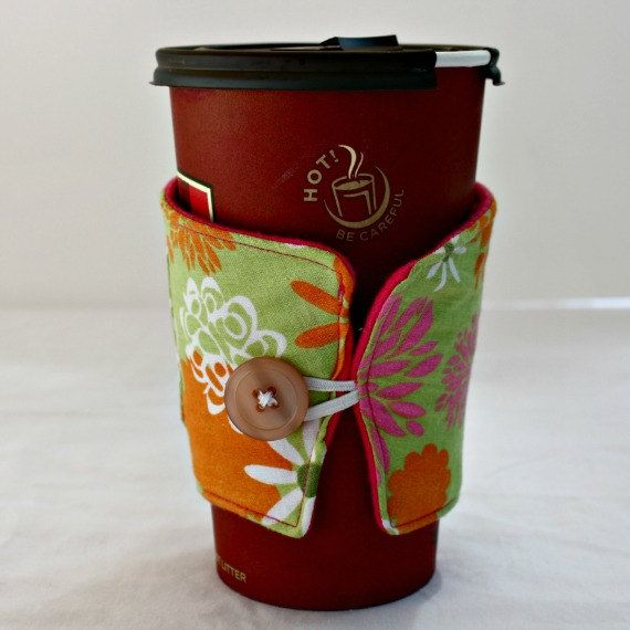 Bright Flowers on Green Background Reusable Coffee Sleeve with Pocket for Gift Card by TheresasToDos, $7.00