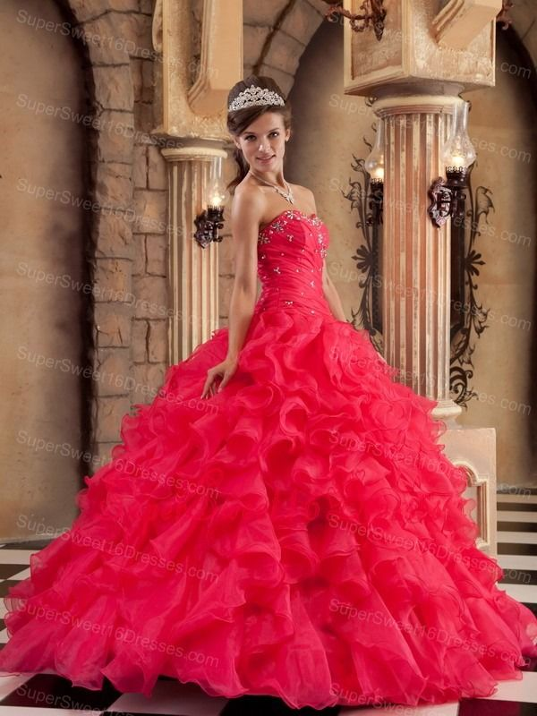 Low Price Red Sweet 16 Dress Sweetheart Organza Ruffles Ball Gown ...