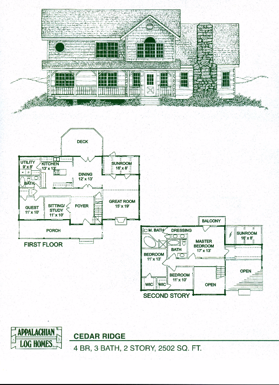 Cedar Ridge 4 Bed 3 Bath 2 Stories 2502 Sq Ft Appalachian Log Timber Homes Hybrid Home Fl Log Home Floor Plans Mansion Floor Plan Cabin Floor Plans