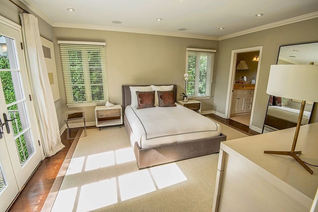 Contemporary Master Bedroom With Jacques Adnet Bronze And