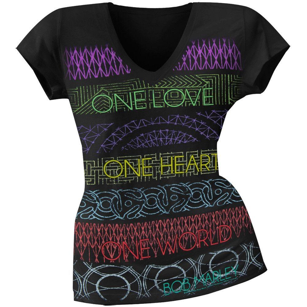 Bob marley one love one heart one world juniors vneck tshirt