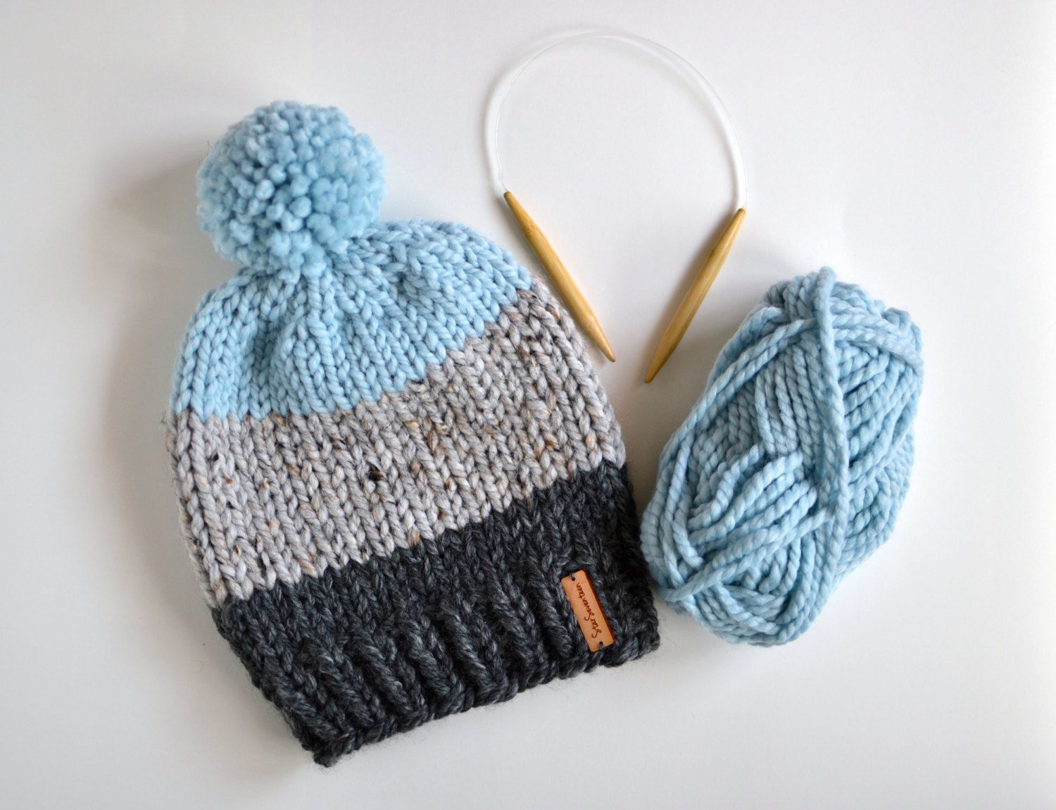 87b43d0cc Hand Knitted Color Block Beanie With Pom Pom // Chunky Knit Stripe ...