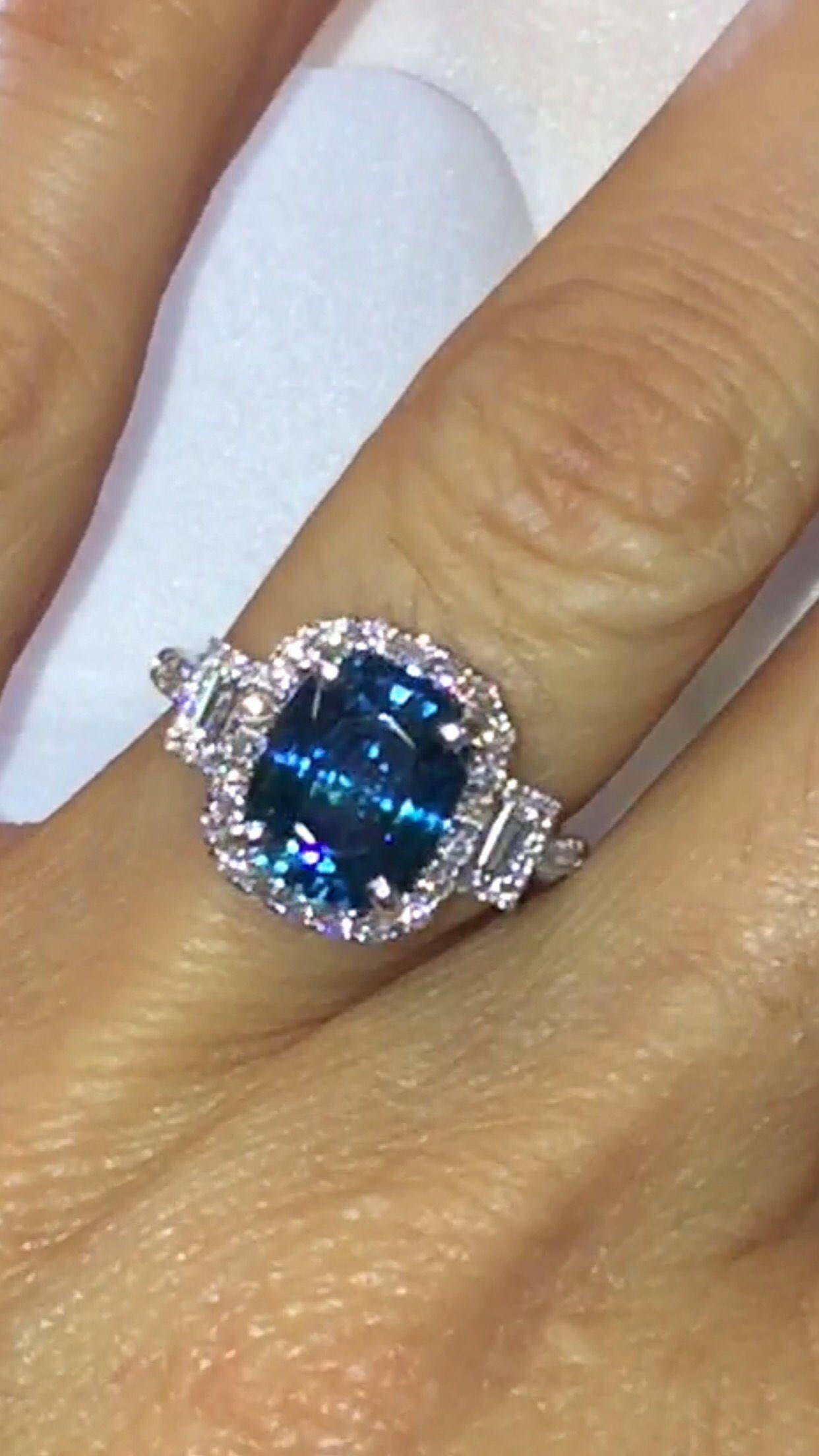 Blue Zircon Engagement Ring 6.62tw Diamond/Zircon Halo