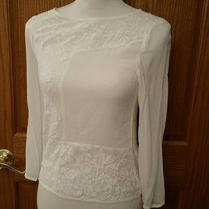 Zara Tops - Zara woman soft delicate white floral blouse
