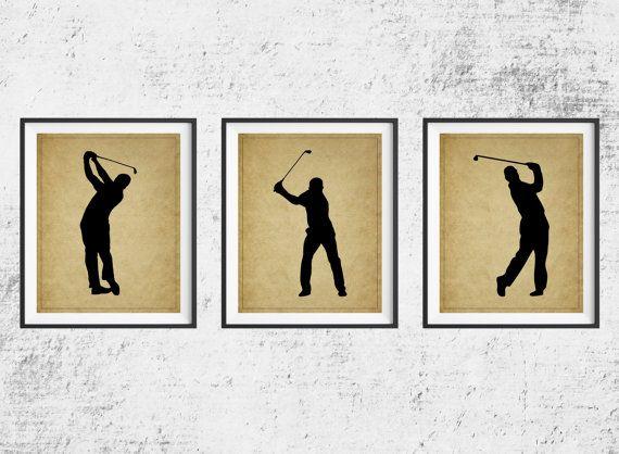 Golf Print Set Golf Art Panel Art Golf Gifts For Men Golf Decor