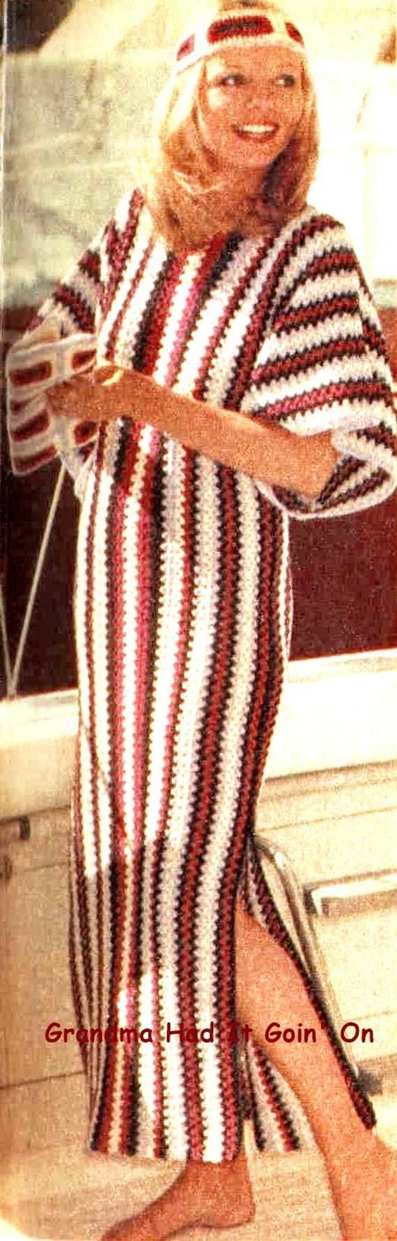 Vintage Crochet Pattern - Caftan Dress - Striped Long Beach Dress - Instant Download PDF - Ladies Boho Peasant Dress - Patio Lounge Dress #crochetbeachdress