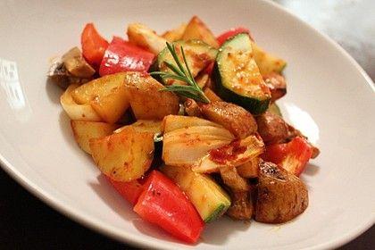 Mediterrane Kartoffel-Gemüsepfanne #kartoffeleckenbackofen
