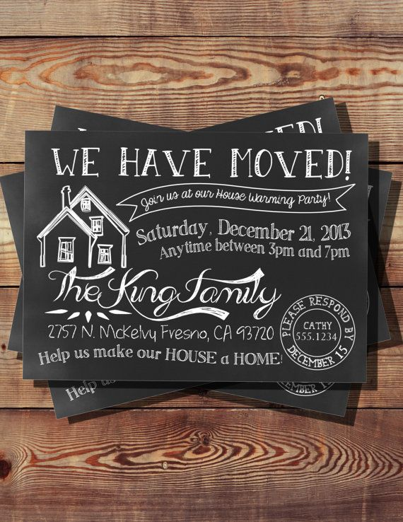We Have Moved House Warming Invitation By Booboobeancreations