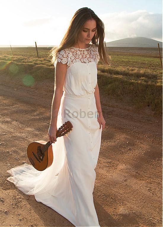 4096d3cfdaf Robe de mariée a-ligne chiffon plage col ras du cou elégant   luxueux