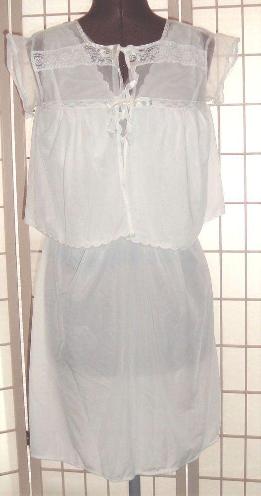 Vintage Shadowline Sz 36 White 2 Pc Gown & Bed Jacket Bridal Sleep ...