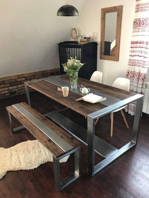 Industrial Steel & Reclaimed Wood Dining Table and Bench Set ...