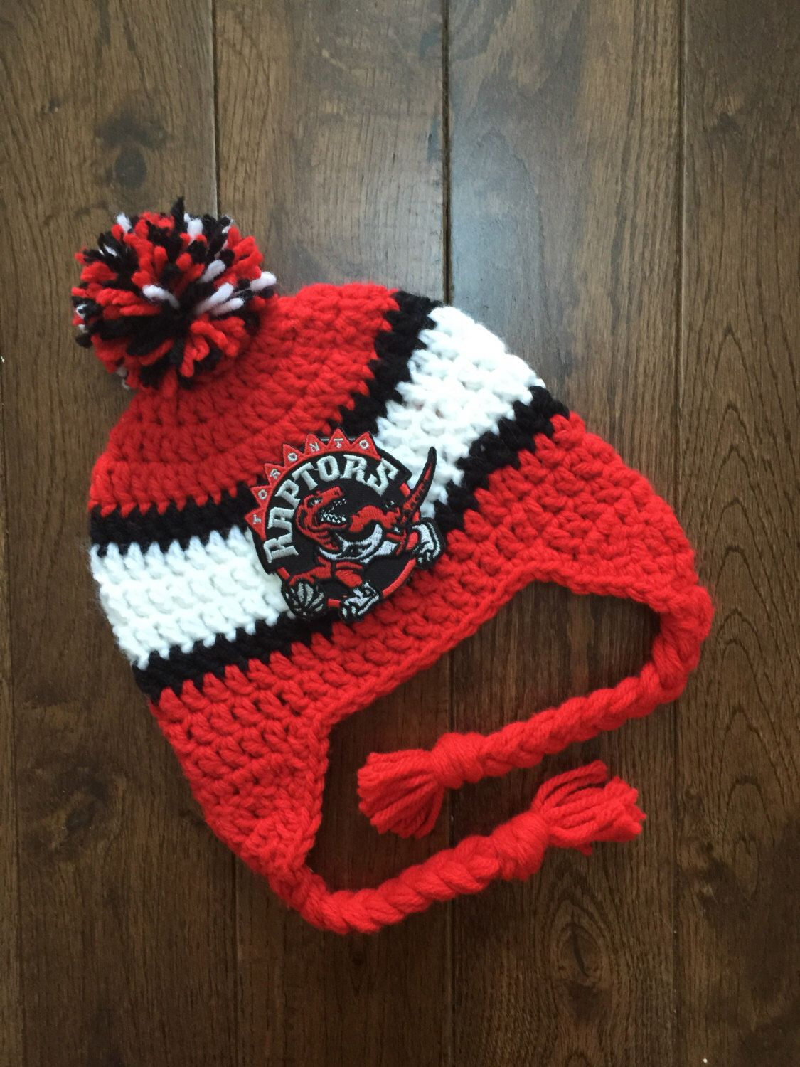 66b1902fae1 Handmade Toronto Raptors Crochet Hat with NBA Patch/ Photo Prop ...