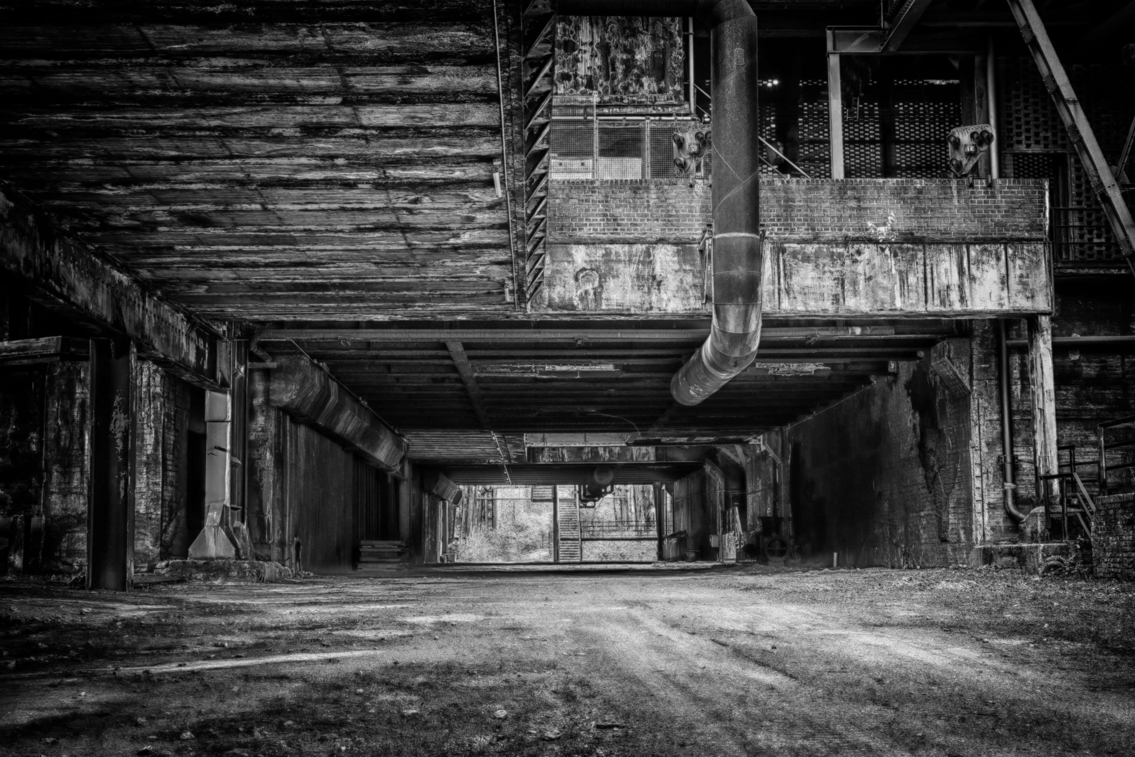 Abandoned Architecture Black And White Black And White Building Decay Empty Factory Indoors In Black And White Wallpaper Industrial Factory Abandoned