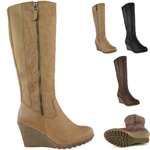 430b3128aef9 Fashion Thirsty Womens Wedge Heel Knee High Mid Calf Wide Leg Elastic Winter  Biker Boots Size