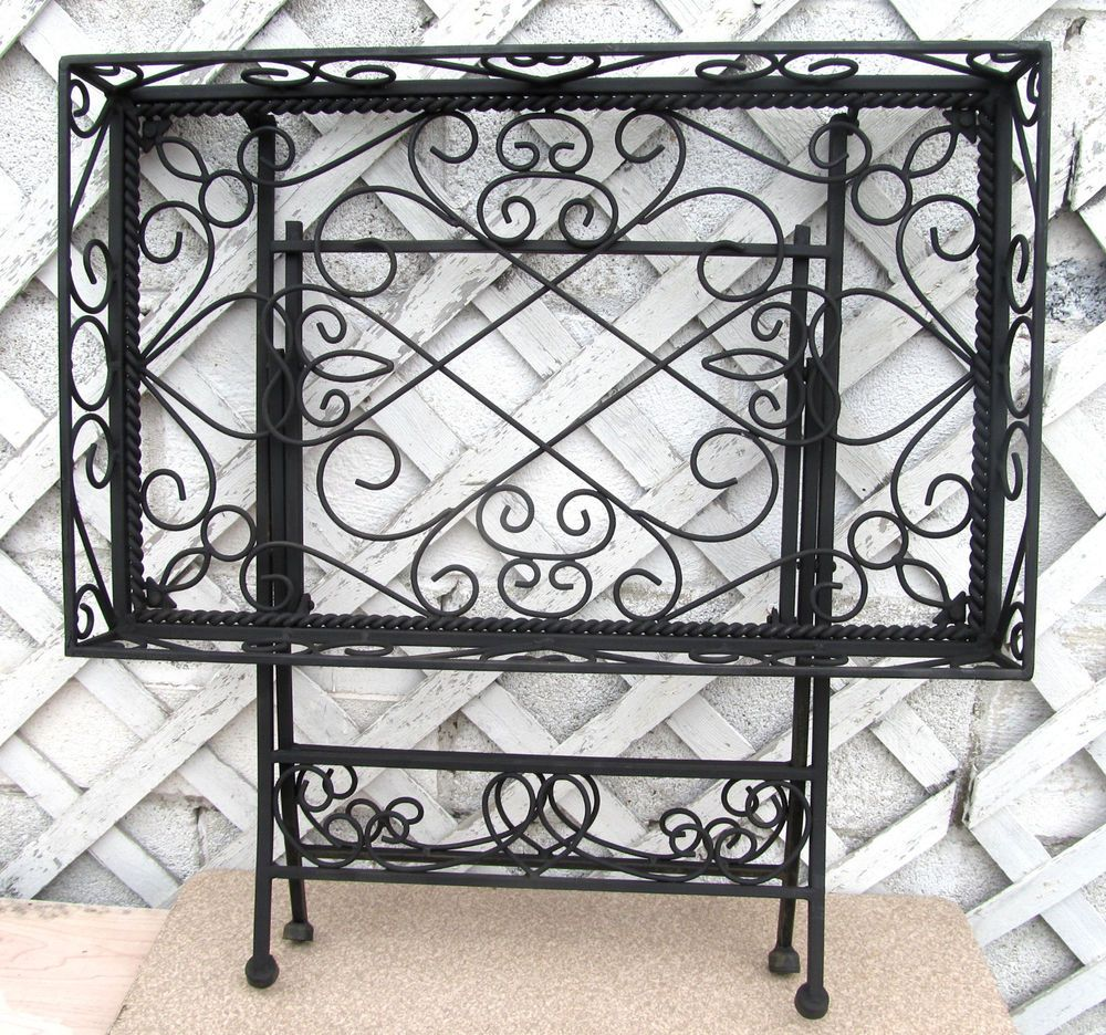 Vintage Ornate Wrought Iron Metal Folding Tray Table Plant Stand