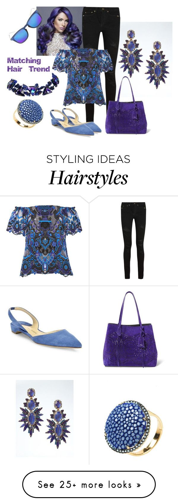 """Colorful matching hair Trend"" by ningaunis on Polyvore featuring Banana Republic, Yves Saint Laurent, Alice + Olivia, Paul Andrew, Ralph Lauren, Ray-Ban, Christian Lacroix, hairtrend and rainbowhair"