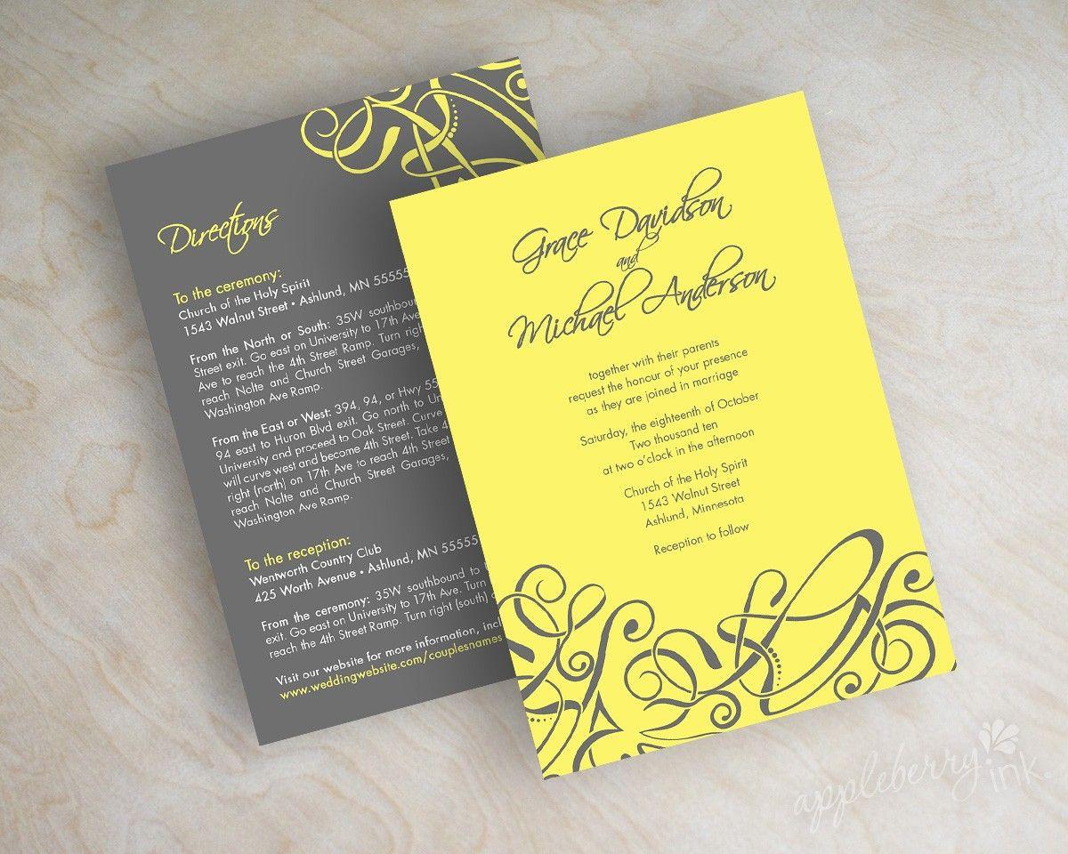 Wedding invitations, contemporary modern abstract swirls in lemon ...