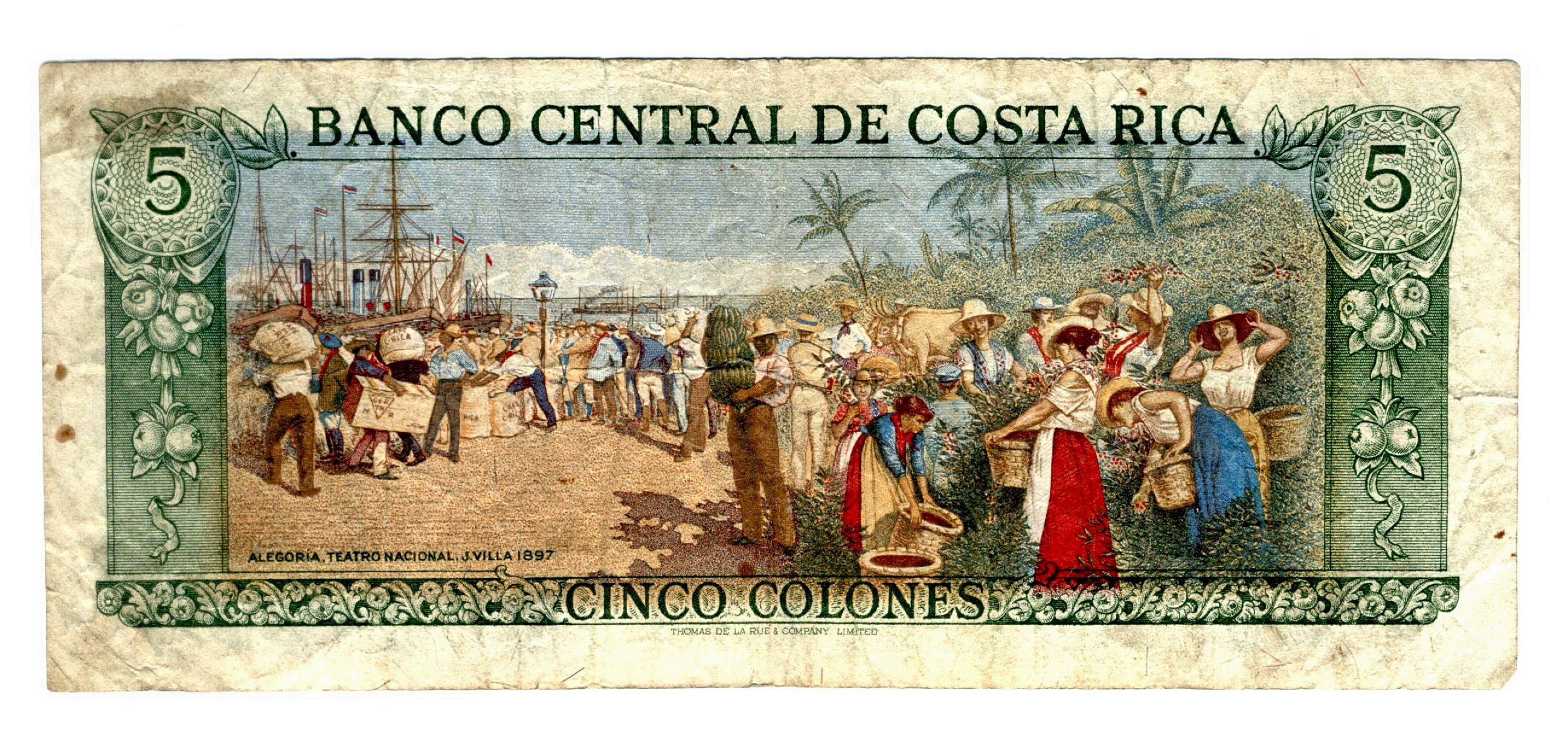 Costa Rica 5 Colones Old Bill