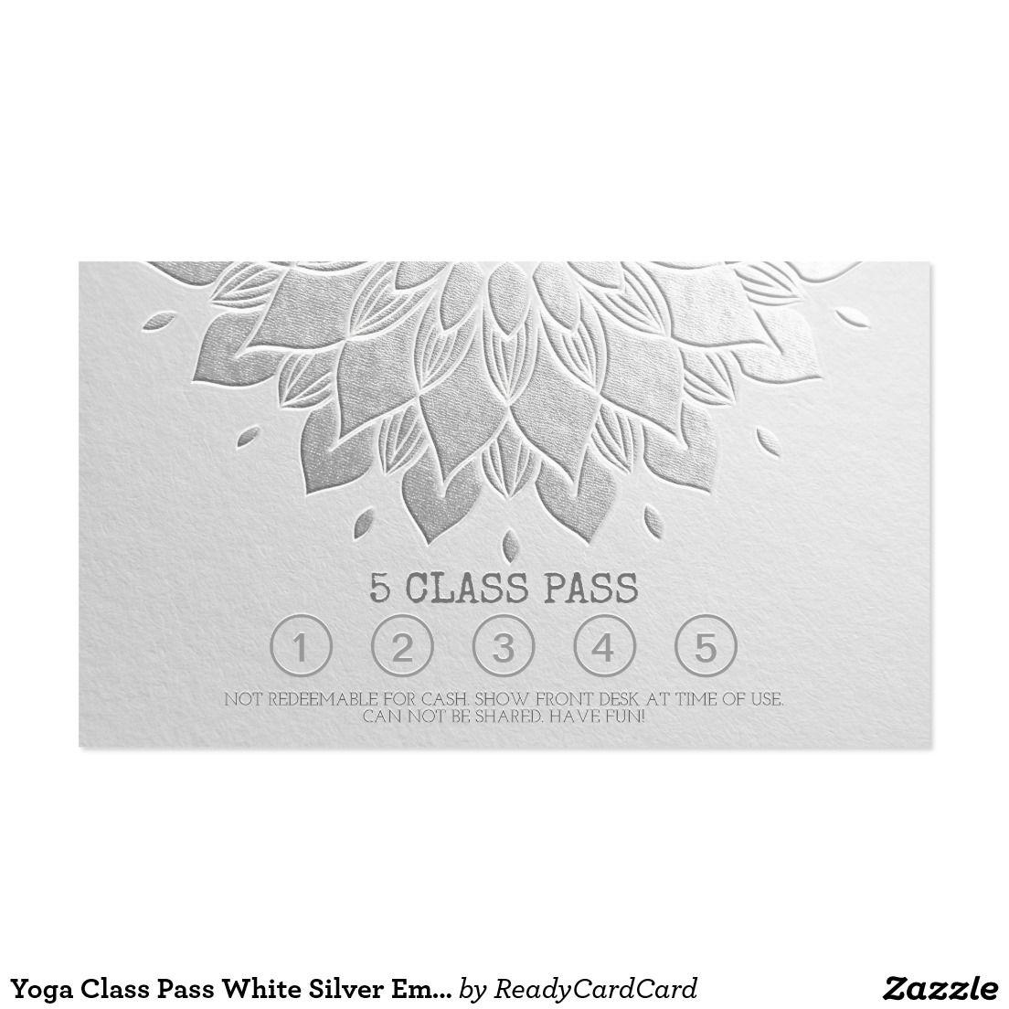 Yoga Class Pass White Silver Emboss Mandala Floral Business Card ...