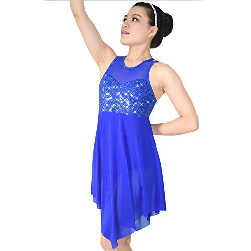 0bd9300996e1 MiDee Lyrical Dance Costume Dress Illusion Sweetheart Sequins Trianglar Cut  Skirt - MC, Royal Blue