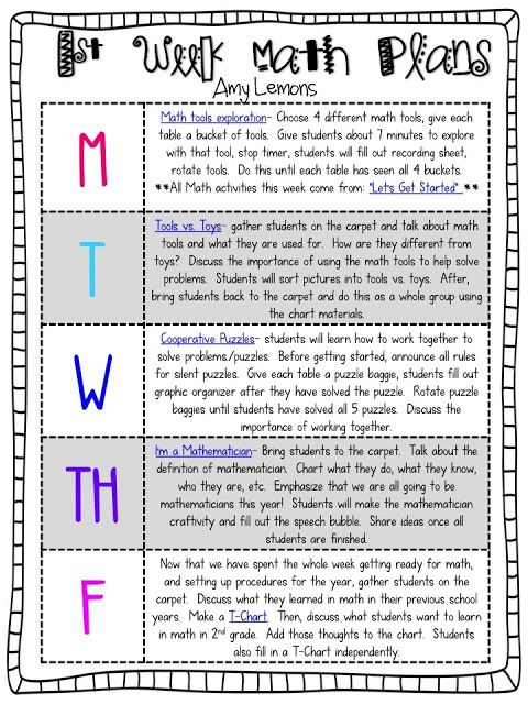 Are you ready for the first week of school? Last year I shared my - sample weekly lesson plan