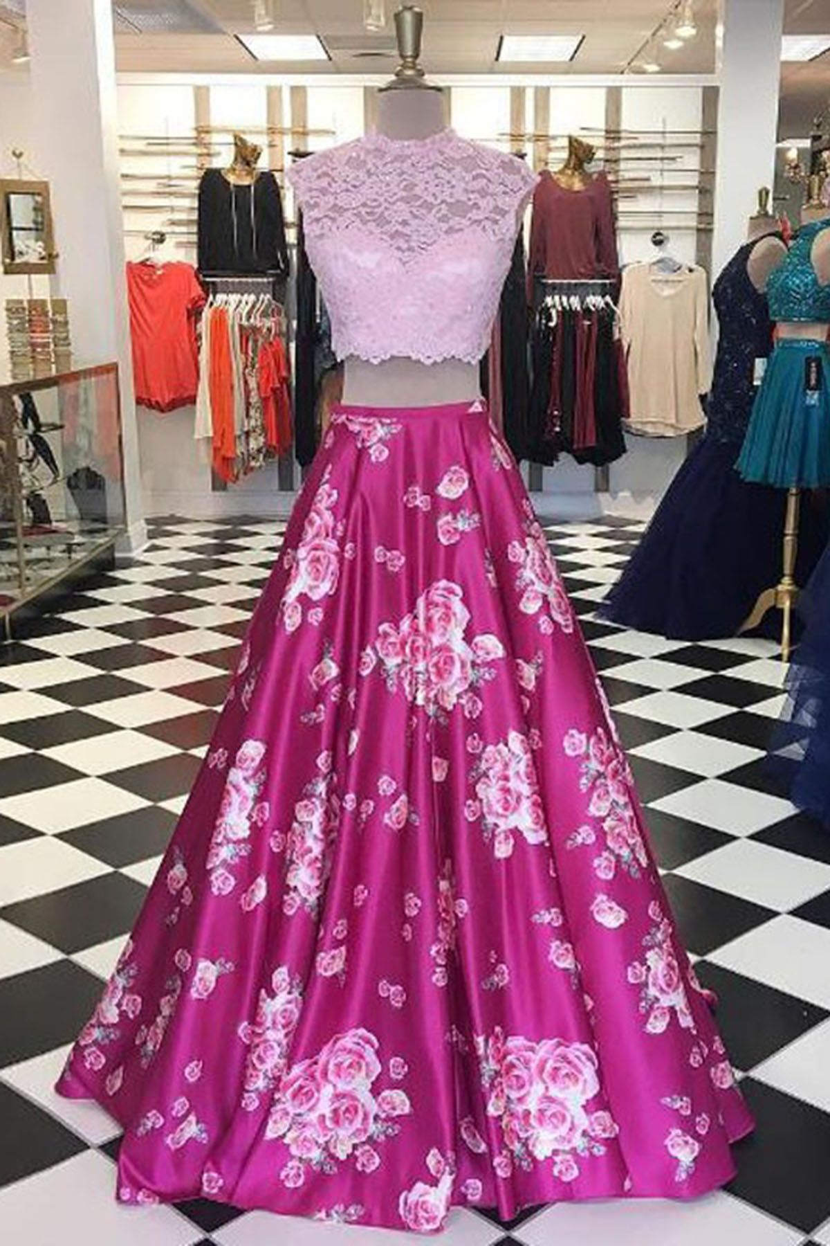 Elegant pink lace long floral two pieces prom dresses from