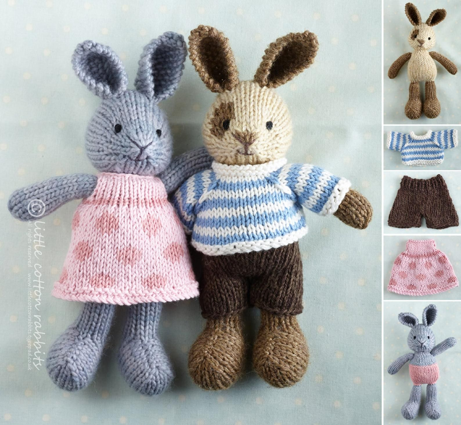 Toy knitting pattern for a small rabbit with removable ...