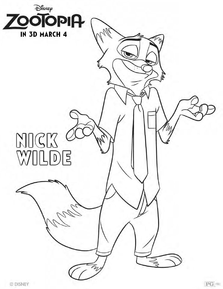 Zootopia Coloring Pages Printable Nick Wilde  Printables
