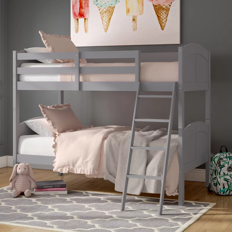 Romo Twin Over Twin Bunk Bed In 2020 Twin Bunk Beds Bunk Beds White Bunk Beds