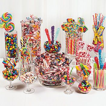 Dum Dums, tootsie rolls, gumballs and smarties. These are items to stuff into a piñata not to create. Candy buffet with!