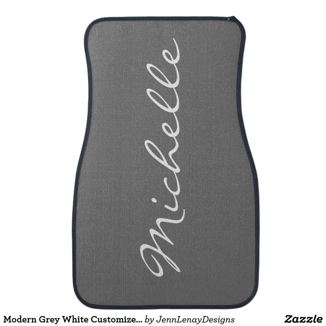 Modern Grey White Customized Name Women's Car Floor Mat