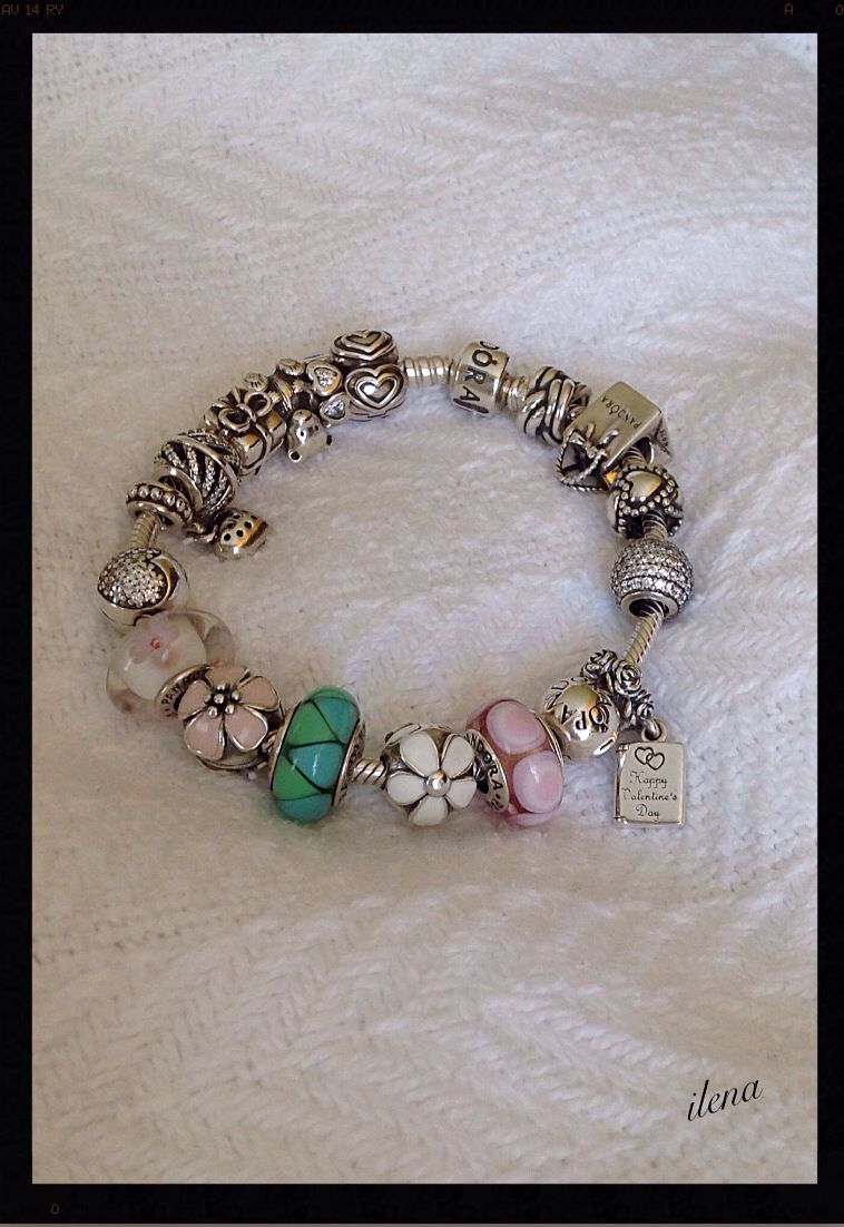 My Silver, Pink, White And Green Pandora Bracelet New Darling Daisies Clip