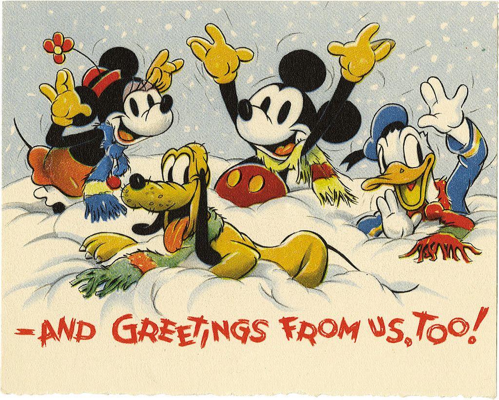 1935 Christmas Card Back Disney Christmas Cards Disney Christmas Disney Collectables