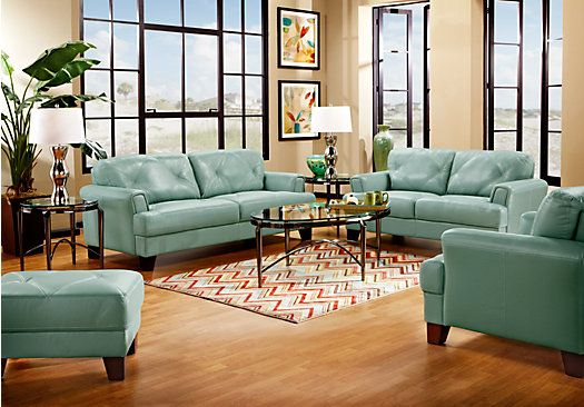 Shop For A Cindy Crawford Home Eden Place Seafoam Leather 5 Pc