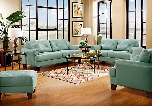 Cindy Crawford Eden Place Seafoam 5pc Classic Living Room