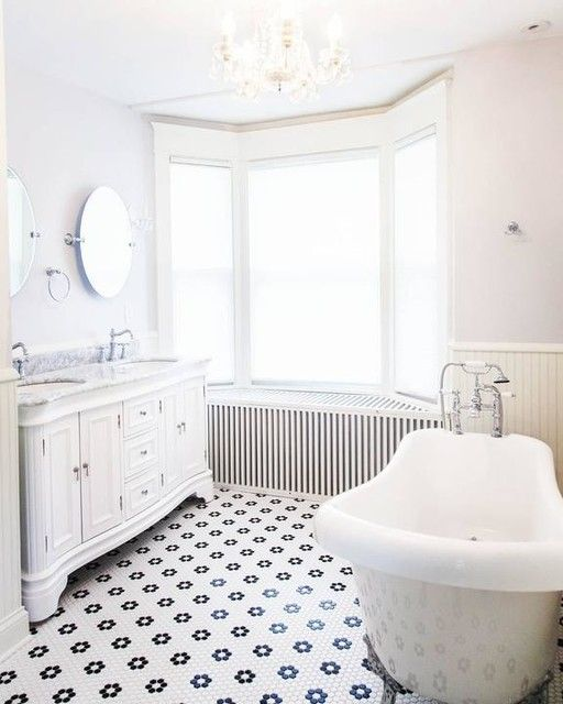 Restore Your Bathroom To A Vintage Glory With The Classic Look Of This Hexagon Tile To Cr White Hexagon Tile Bathroom Bathroom Tile Designs White Hexagon Tiles