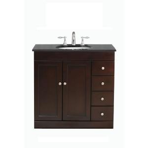 Virtu USA Modena 36 in. Single Basin Vanity in Espresso with Granite Stone Vanity Top in Black Galaxy-LS-1039BG at The Home Depot
